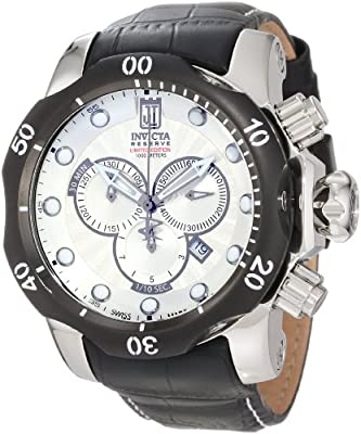 Jason Taylor for Invicta Collection 12962 Venom Chronograph Silver Mother-Of-Pearl Textured Dial Black Leather Watch