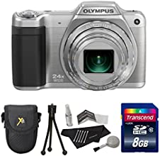Olympus STYLUS SZ-15 16MP 24x SR Zoom 3-inch Hi-Res LCD - Silver + 8GB SDHC + Deluxe Case + Extra Accessories