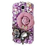 Mavis's Diary Luxury 3D Handmade Purple Rhinestone Bling Diamonds Red Heart Colorful Cross Design Hard Clear Cover Case with Soft Clean Cloth for Samsung Galaxy S4 IV I9500 I9505 SPH-L720, SGH-I337 SCH-I545 SGH-M919 SCH-R970 S4 LTE-A S4 La Fleur Edition