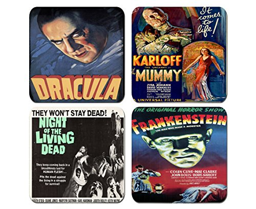 Best Vintage Horror Films - Old Horror Movies - Set of 4 Coasters 1/4 inch thick Very (Vintage Film Posters compare prices)