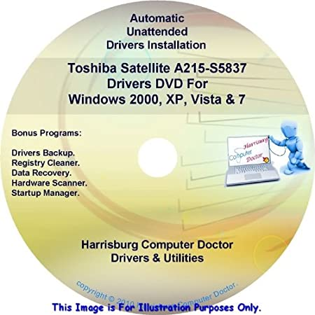 Toshiba Satellite A215-S5837 Drivers DVD Disc - Windows, XP, Vista and 7 Driver Kits - Automatic Drivers Installation.