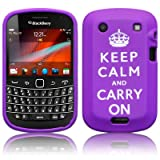 BLACKBERRY BOLD 9900 KEEP CALM & CARRY ON LASERED SILICONE SKIN CASE / COVER / SHELL - PURPLE/WHITEby TERRAPIN