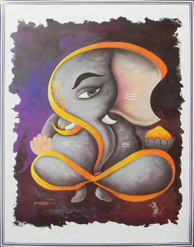 "Dolls Of India ""Artistic Ganesha"" Reprint On Paper - Unframed (63.50 X 48.26 Centimeters)"