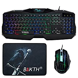 BAKTH New Design Colorful Rainbow Backlit Gaming Keyboard and Automatic Color Changing Backlit Mouse Plus BAKTH Customized Fire Mouse Pad as Gift