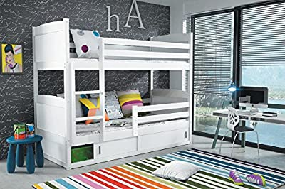 RICO 2 BUNK BED 185x80 white colour with 2 foam mattresses + storage