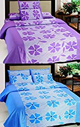 KKK Cotton Floral Double Bedsheet(2 Bedsheet, 4 Pillow Covers)