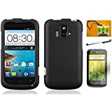 LF 4 in 1 Bundle Accessory - Hard Case Cover, Lf Stylus Pen, Screen Protector & Wiper For (AT&T) ZTE Radiant z740 (Hard Black)