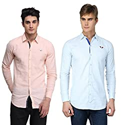 BRAVEZI Men's Peach & Sky Blue Casual Slim Fit Shirt