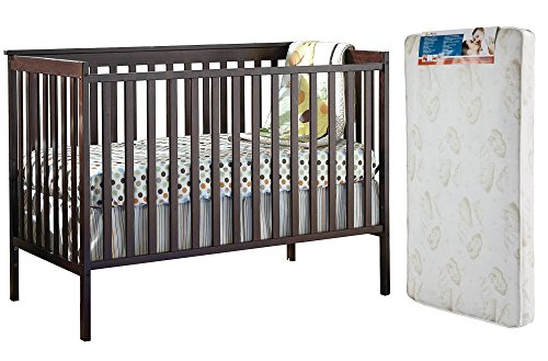 Stork Craft Sheffield Fixed Side Convertible Crib, Espresso and Dream On Me Spring Crib and Toddler Bed Mattress, Twilight - 2-Piece Bundle (Stork Tuscany Espresso Changing compare prices)