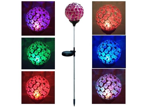 "Solar Power Mosaic 3.5 "" Pink Red Glass Ball , Multi-Color Color Changing Led Light , Garden Stake Yard Led Light"