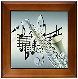 3dRose ft_193043_1 Print of Aqua Sax with Notes Framed Tile, 8 by 8-Inch