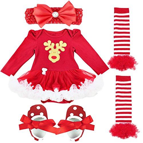 YiZYiF Baby Infant Girls Christmas Romper Tutu Set First Christmas Clothing Set Red Deer 3-6 Months