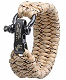 The Friendly Swede (TM) Trilobite Extra Beefy / Wide 500 lb Paracord Survival Bracelet With Stainless Steel Black Bow Shackle - Adjustable Size Fits 7-8 Inch Wrists - In Retail Packaging - Lifetime Warranty (Dersert Camo)