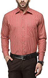 Formals by Koolpals-Cotton Blend SQUARES RED AND CREAM Shirt.