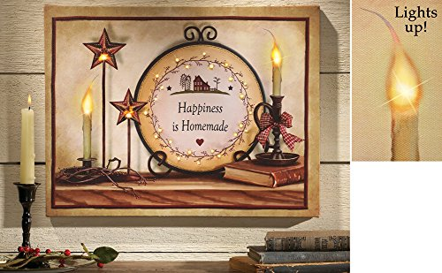 Country Primitive Led Lighted Canvas Wall Art