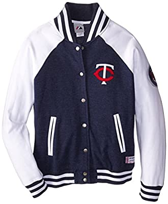 MLB Minnesota Twins Women's Pumped Up Varsity Jacket, Navy Heather/White