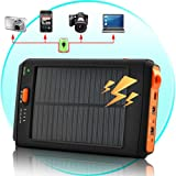 High Capacity Solar Charger and Battery with Flashlight 11200mah