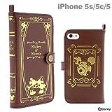 Old Book Case ディズニー / iPhone5s / iPhone5c / iPhone5 ケース 手帳型 カバー カード入れ 付き ストラップホール付 横開き ダイアリー タイプ キャラクター レザー スマホケース / ミッキー & ミニー / ブラウン
