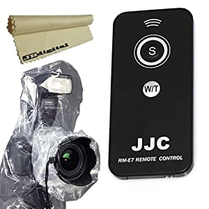 """IR Wireless Remote Control for PENTAX DSLR 645D, K-m, K-r, K-x, K-01, K-5, K-7, K10D, K20D, K100D, K110D, K200D, K2000 *ist (D, DL, DL2, DS, DS2) + Rain Cover Protector for Digital Cameras (1 with External Flash, 1 without External Flash) with Lenses up to 6.5"""" (0.17 m) Diameter, 13.5"""" (0.35 m) Long + JB Digital Microfiber Lens Cleaning Cloth"""