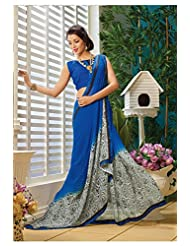 AG Lifestyle Blue & Off White Faux Georgette Saree With Unstitched Blouse AKS2015