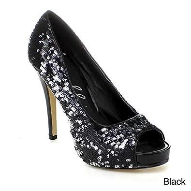 ELLIE Women's Heel Sequin Glitter Platform Pumps Evening Wedding Dress
