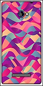Snoogg Mosaic Abstract Wave Background Colorful Abstract Hand Drawn Pattern Designer Protective Back Case Cover For HTC Windows Phone 8S