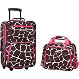 Rockland Luggage 2 Piece Printed Luggage Set, Pink Giraffe, Medium