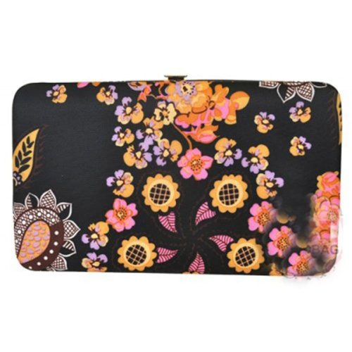 Country Flower Floral Print Flat Opera Wallet