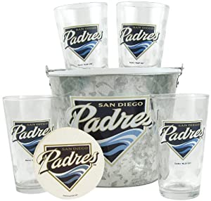 MLB San Diego Padres Satin Etch Bucket and 4 Glass Gift Set by Boelter Brands