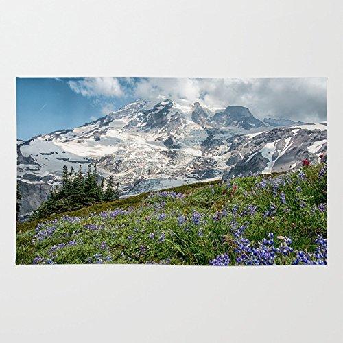 Society6 Scenic Landscape Art, Mt. Rainier, Mt. Rainier National Park, Paradise Rug 4' x 6'