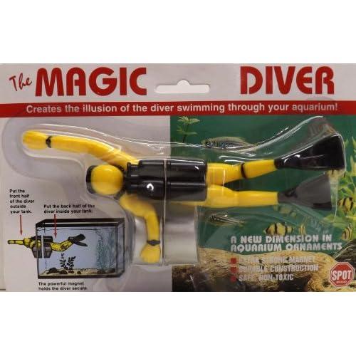 Magic scuba diver aquarium ornament yellow for Aquarium scuba diver decoration