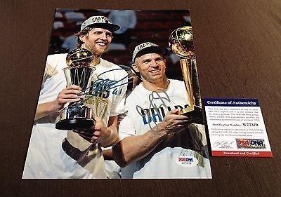 Dirk Nowitzki / Jason Kidd Dual Signed 8X10 Photograph Dallas Mavericks - Psa/Dna Certified - Autographed Nba Photos