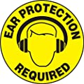 "Accuform Signs MFS313 Slip-Gard Adhesive Vinyl Round Floor Sign, Legend ""EAR PROTECTION REQUIRED"" with Graphic, 8"" Diameter, Black on Yellow"