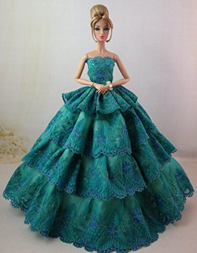 b3628b29f8f Lanlan Lovely Beautiful Malachite Green Multilayer Lace Wedding Evening  Party Ball Dress For Barbie Doll Price in India