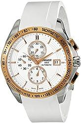 Tissot Men's  'Veloci-T' White Dial White Rubber Strap Chronograph Watch T024.427.27.011.00