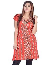 Aabarani Women's Hand Work Semi Stitched Cotton Kurta (ABKU005,Red)