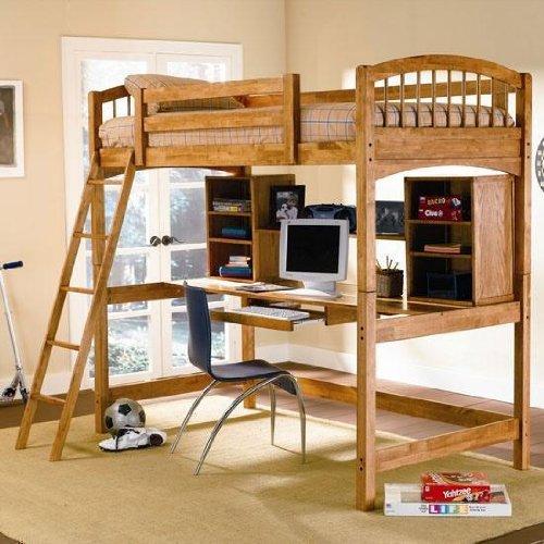 Coaster Furniture Workstation w/ Twin Loft Bed in Oak Bunks CO460053