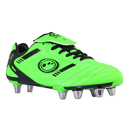 OptimumTribal - Rugby Stivali uomo , verde (Fluro Green/Black), 42.5