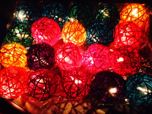 2 Sets Of 20 Rattan Balls Craft Lights Set Lighting String Lamp Home Decoration, Patio, Living Room, Yard & Garden Indoor And Outdoor Of Birthday, Christmas, Wedding, New Year, Anniversary, Ceremony, Graduation Day, Valentine Party