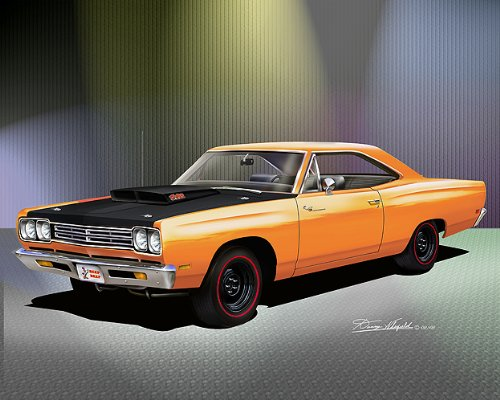 1969 Plymouth Road Runner 440 Six Pack Vitamin C Orange - Official Danny Whitfield Art - Size 14 X 18