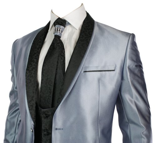 Mens Shiny Slim Fit Wedding Party Suit Blue 4 Piece Black Lapels