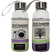 Travel Happiness Glass Bottle 300ml With Nylon Cover Pack Of 2 (Camera + Tree Print)