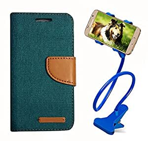 Aart Fancy Wallet Dairy Jeans Flip Case Cover for MeizumM2 (Green) + 360 Rotating Bed Moblie Phone Holder Universal Car Holder Stand Lazy Bed Desktop by Aart store.
