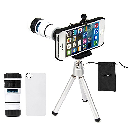 iVAPO Iphone 5 Camera Lens Kit Including 8x Telephoto Lens / Mini Tripod / Universal Phone Holder / Hard Case for Iphone 5 / Velvet Phone Bag /Microfiber Cleaning Cloth - Awesome Accessories and Attac