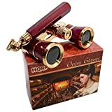 HQRP Opera Glasses Burgundy with Gold Trim w/ Built-In Extendable Handle in HQRP Gift Box