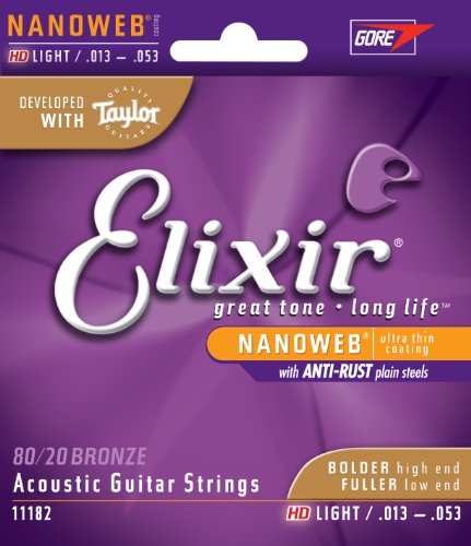 Elixir 11182 Nanoweb 80/20 Bronze HD Acoustic Guitar Strings, Light