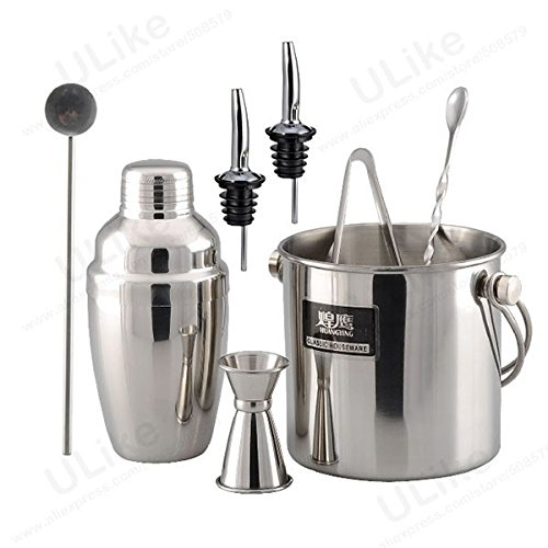 8-Pieces Stainless Steel Ice Bucket + Shaker + Pourer + Drink Mixer Set Bars Shaker Bartender Kit front-129010