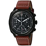 Bulova Men's 'Classic' Quartz Stainless Steel and Leather Watch, Color:Brown (Model: 98B245) (Color: Black)