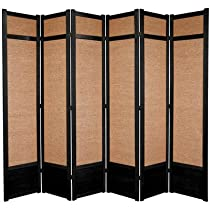 Hot Sale Oriental Furniture Better Workmanship Most Durable, 7-Feet Jute Fiber Privacy Screen Room Divider, 6 Panel Black