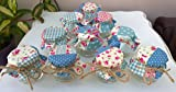 Make your Own DIY Shabby Chic Vintage SET OF 10 Mini Jam Jars 1.5 oz Blue Patchwork Design Wedding Favours Table Decorations Baby Shower Christening or Homemade Gifts